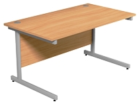 Office Desk Rectangular Silver Legs W1400mm Beech Ashford