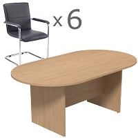 6 Person Boardroom Bundle - 1800mm Beech D-End Table & 6 Black Leather Look Armchairs