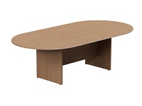 Oval Meeting Table, Panel Base, Single Piece, 2400W x 1200D, Beech