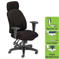 Aviator Office Armchair Black High Back H680 W540 x D450 x H490-590mm Influx Energize