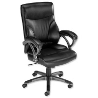 Executive Leather- Look Chair with Arms Black F5A Influx Breeze