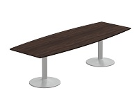Kito Barrel Meeting Table with Double Trumpet Legs in Dark Walnut 2700x1000/800mm