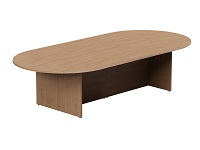 Kito Beech Large D-End Boardroom Table with Panel Leg Base W3000mm x 1400mm