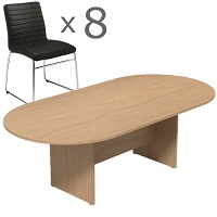 8 Person Boardroom Bundle - 2400mm Beech D-End Table & 8 Black Leather Look Chairs
