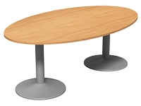 Elipse Meeting Table, Double Cylinder Leg Base, 2000 x 1200, Beech