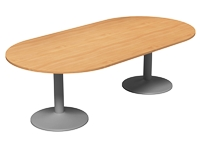 Oval Meeting Table, Cylinder Base, 2400W x 1200D, Beech