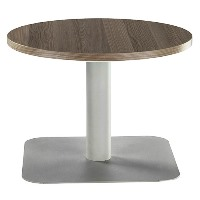 One Round 600mm Reception Coffee Table Dark Walnut with Silver Base
