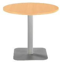 One Circular 800mm Mid Cafe & Bistro Table Beech with Silver Base