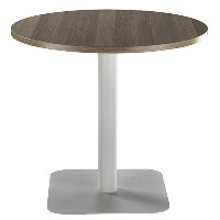 One Circular 800mm Mid Cafe & Bistro Table Dark Walnut with Silver Base