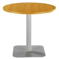 One Circular 800mm Mid Cafe & Bistro Table Oak with Silver Base