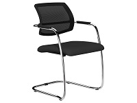 OQ Series Mid Mesh Back Stacking Chair, Chrome, Evert Black Fabric Seat Washable
