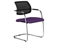 OQ Series Mid Mesh Back Stacking Chair, Chrome, Evert Violet Fabric Seat Washable