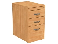 Desk High Pedestal, 3 Drawer, Beech, 400W x 600D x 725H