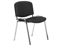 O.I Series Black Vinyl Stacking Chair with Chrome Legs