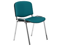 O.I Series Blue Vinyl Washable Chrome Legs Stacking Chair