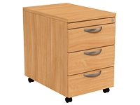 Mobile Pedestal, 3 Drawer, Beech, 400W x 600D x 585H