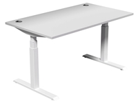 Leap Electric Height Adj Desk 1400 x 800, White Top, White Legs