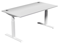 Leap Electric Height Adj Desk 1600 x 800, White Top, White Legs