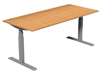Leap Electric Height Adj Desk 1800 x 800, Beech Top, Grey Legs