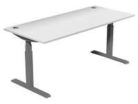 Leap Electric Height Adj Desk 1800 x 800, White Top, Grey Legs