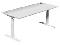 Leap Electric Height Adj Desk 1800 x 800, White Top, White Legs