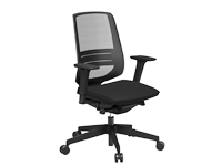 LightUp Modern Design Mesh Office Chair With Lumbar Support & Adjustable Arms Black Fabric Seat