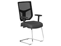 OA Series Mesh Back Chrome Frame Meeting Chair Lotus Black - Step Adjustable Arms