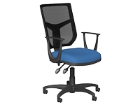 OA High Back Mesh Chair, Blue, Fixed Arms