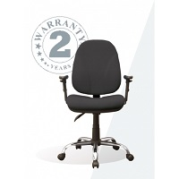 Operators Chair, Adjustable Arms, Chrome Base