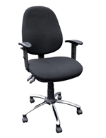 Operators Chair, Adjustable Arms, Chrome Base