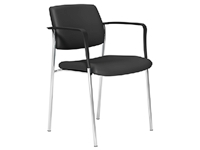 CUBE Series 4 Legged Stacking Chair, Arms, Chrome Frame, Black Lotus