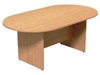 Oval Meeting Table, Panel Base, Single Piece, 1800W x 1000D, Beech