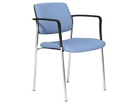 CUBE Series 4 Legged Stacking Chair, Arms, Chrome Frame, Light Blue Evert