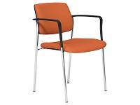 CUBE Series 4 Legged Stacking Chair, Arms, Chrome Frame, Orange Evert