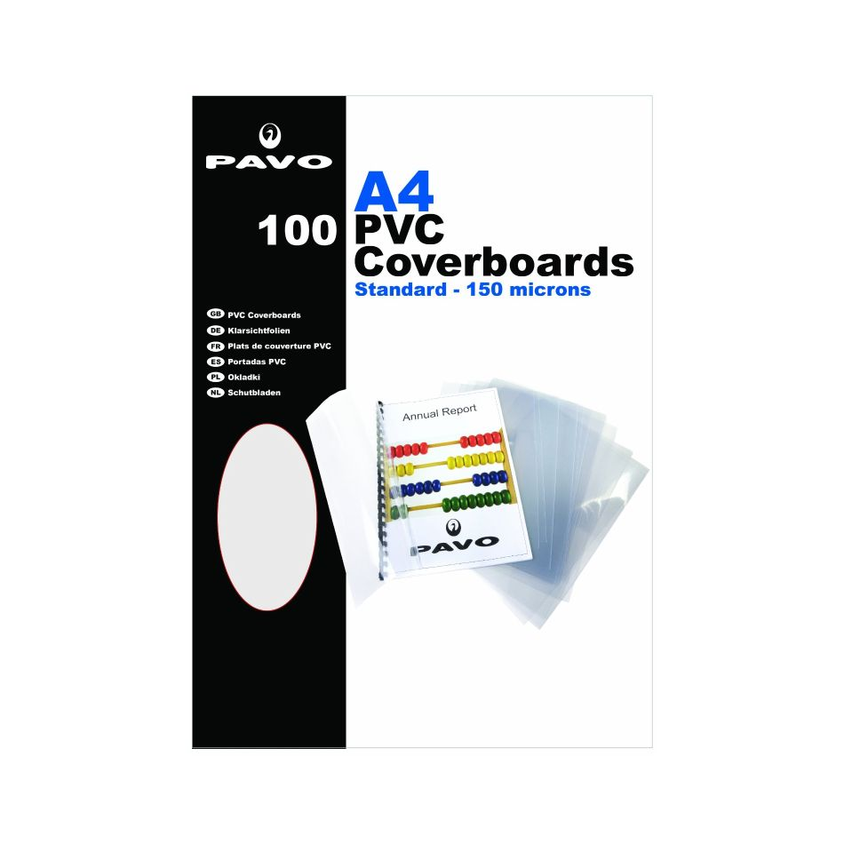 Fellowes 5376001 PVC Binding Covers A4 150 Microns Clear 100 Pack