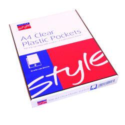 O/STYLE A4 CLR PLASTIC PKT (100)
